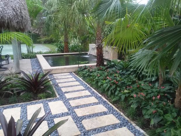 Tropical landscape in miami tropical plants concrete for Square fish pond
