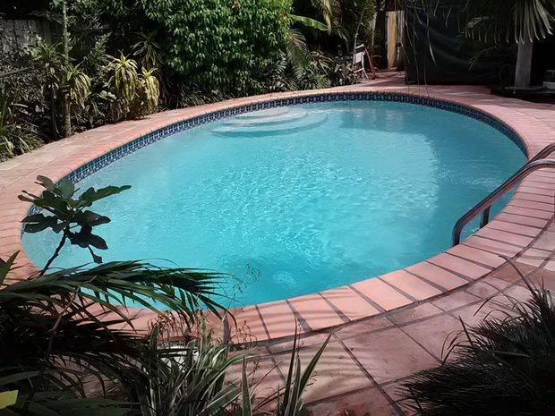 Tropical Pool In Miami Blue Ceramic Tile Pool Surround