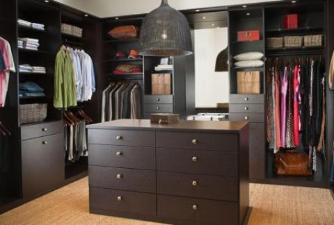 Transitional Closet with brushed nickel hardware