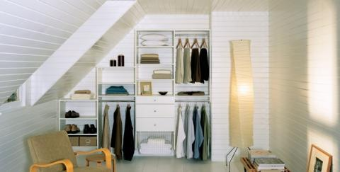 Transitional Closet with floor lamp with long white shade