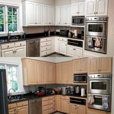 Indigo splash custom painted cabinets cornelius nc for Indigo kitchen cabinets
