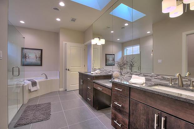 Contemporary bathroom in albuquerque tile floor granite for Bath remodel albuquerque