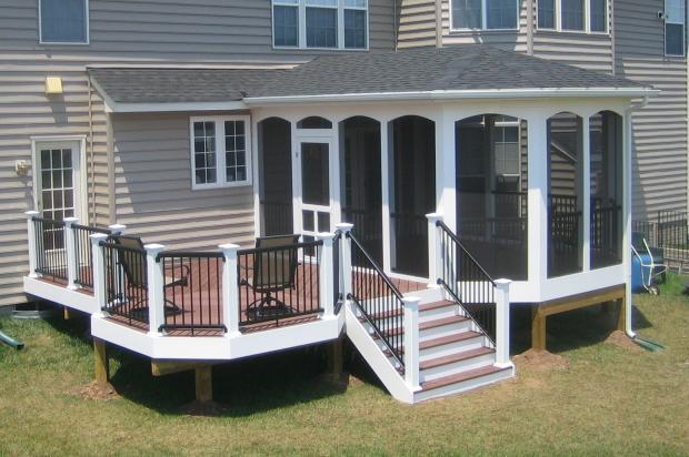Traditional Patio with white home exterior trim