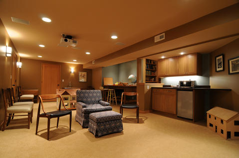 Traditional Basement with traditional style open basement