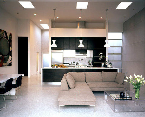 Modern Kitchen with solid surface counter and sides