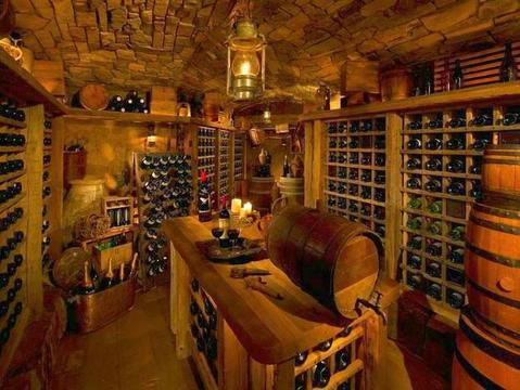 Rustic Wine Cellar with built in wine shelves