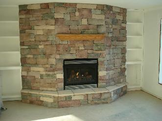 Gas Fireplace w Veneer Stone and Custom Cabinets Pictures and Photos