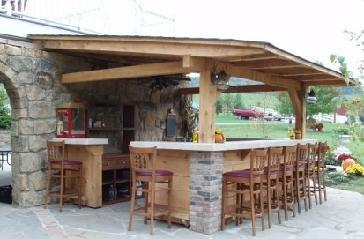 Outdoor kitchen bar pictures and photos