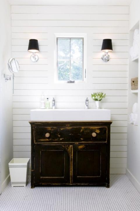 Eclectic Bathroom with white porcelain vessel sink