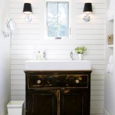 Eclectic Bathroom with rustic black vanity cabinet