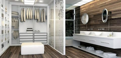 Modern Closet with solid surface counter top