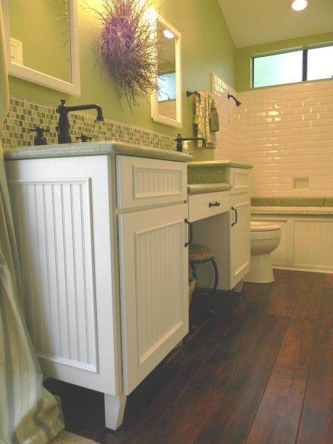 Transitional Bathroom with small green and white tile back splash