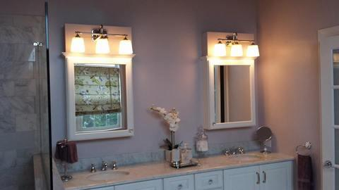 Contemporary Bathroom with white framed mirrors