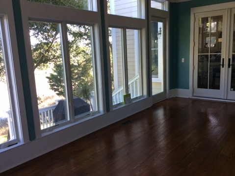 Transitional Sunroom with turquoise interior paint