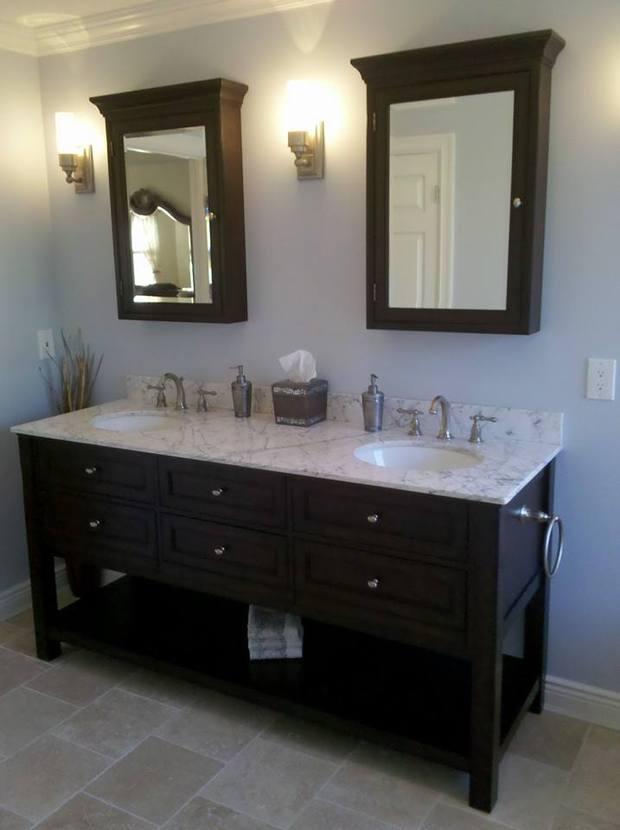 Contemporary Bathroom In Brooklyn Duel Sink Counter