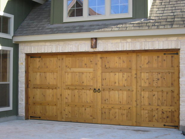 French Country Garage In Cedar Park Green Siding