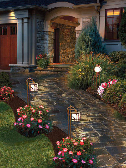 Transitional Landscape with kichler bronze larkin estate low voltage light