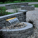 Patio with shear waterfall