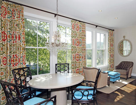 Eclectic Sunroom with fabric custom drapes window covering