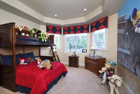 Transitional Kids Room with recessed lights
