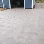 Cottage Driveway with broom swirl textured concrete driveway